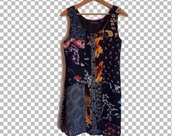 Small/Medium 90s Patchwork Floral Tank Dress // 90s Empire Sheath Sleeveless Dress S/M