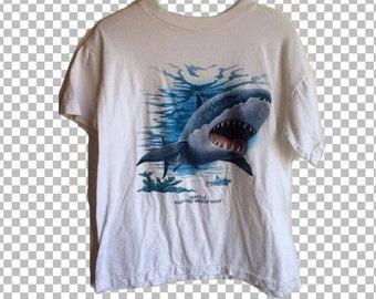 MEDIUM 90s Shark Shirt // Seattle Keep The World Wild Shark T-Shirt Size M