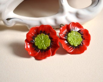 Red Poppy earrings Polymer clay Red Flower Jewelry floral Nature jewelry gift idea|for|her gentle earrings Romantic Jewelry handmade poppies