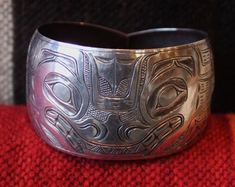 Fantastic Haida Northwest Coast Native American Coin Silver Bracelet Circa 19th Century