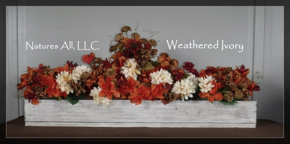 ON SALE! Only One Available!/Large Centerpiece Box/Rustic Wedding Centerpiece/Country Table Centerpiece /Rustic Home Decor/Weathered Ivory