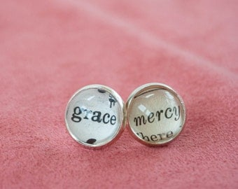 Grace and Mercy Earrings, Book Page Earrings, Amazing Grace Jewelry, Christian Gifts for Women