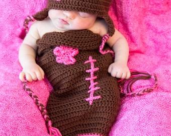 newborn crochet football cocoon/cozy/photo prop