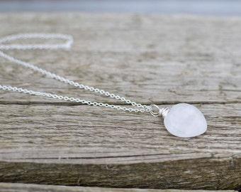 Rose Quartz Heart Necklace, Gemstone Necklace, Heart Pendant, Quartz Necklace, Pink Crystal Necklace, Heart Necklace, Pink Heart.