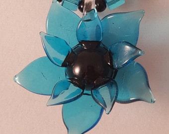 Blue Flower Necklace - Flower Necklace - Blue Necklace - Floral Necklace - Women's Necklace - Blue Flower - Women's Blue Necklace - Necklace