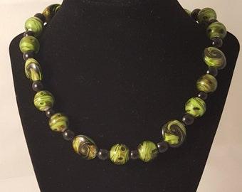 Lime Green & Black Swirl Glass Bead Necklace - Black Glass Pearl Bead - Woman's Choker Necklace - Choker - Lime Green - Black - Gold Glitter