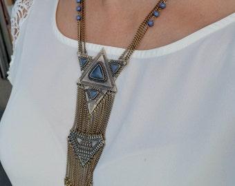 Tribal Necklace, Long Tribal Necklace. Boho Necklace, Long Boho Necklace, Antique Gold Necklace, Blue Necklace (651)