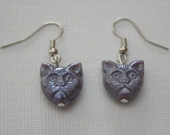 Purple Grumpy Cat Earring