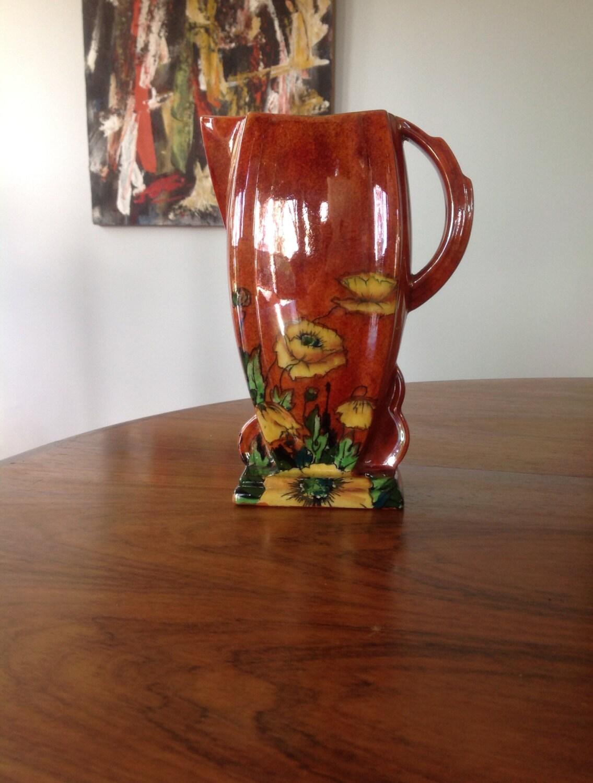art deco orange lustre handpainted flower vase pitcher by. Black Bedroom Furniture Sets. Home Design Ideas