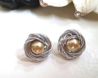 Almond Pearl, Bird Nest, Stud Earrings, Pearl Earrings, Mother Child Jewelry, Spring Jewelry, Wire Wrapped, Silver Wire