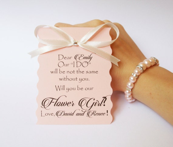 Will you be my flower girl card and bracelet Ask flower girl Flower girl gift  Flower girl jewelry Bridal party invitations gift card