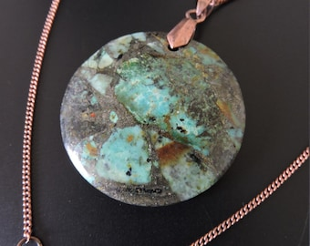 Turquoise pendant and pyrite