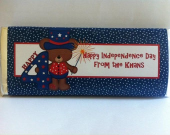 July 4th, fourth of july decor, 4th of july party, fourth of july, personalized candy wrappers, red white and blue, independence day, 24 ct