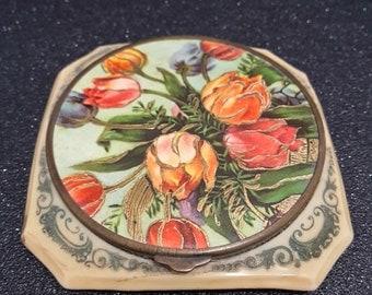 Vintage french art deco bakelite powder compact 1920