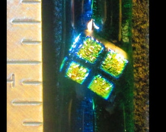 Blue/Green Fused Dichroic Glass Pendant