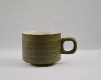 Denby Chevron tea cup, olive green, from the 1970s