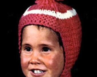 PDF knit Pattern- knit child hat 1970s