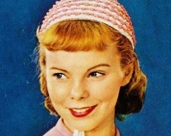 PDF crochet Pattern- Crochet beanie hat 1950s-Vintage Crochet Pattern