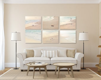 Coastal Wall Decor SET of SIX Prints or Canvases, Bird Photography, Beach Art, Beige Wall Decor, Coastal Wall Art, Bathroom Wall Decor