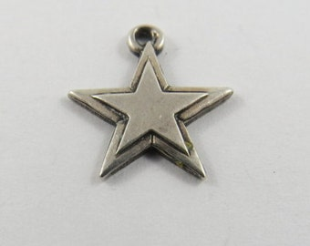 Five Point Star Within a Star Sterling Silver Charm or Pendant.