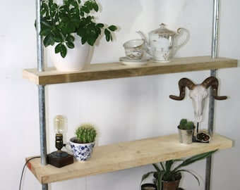 Handmade SHELFS from Scaffold Tube Boards - rustic furniture made from recycled scaffolding boards and pipes