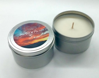 Scented Natural Soy Wax Candle Tin Orla Soy Candle Hand Crafted 8oz. Rhode Island