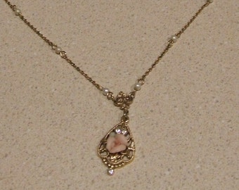 Victorian Necklace, Pink Ceramic Rose Necklace, Romantic Necklace, Mother's Day Gift, 1928 Classic Reproductions, Vintage Gift for Her