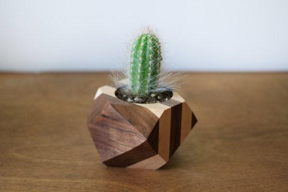 Sale 25 off geometric wood planter wood vase cactus for Wooden cactus planter