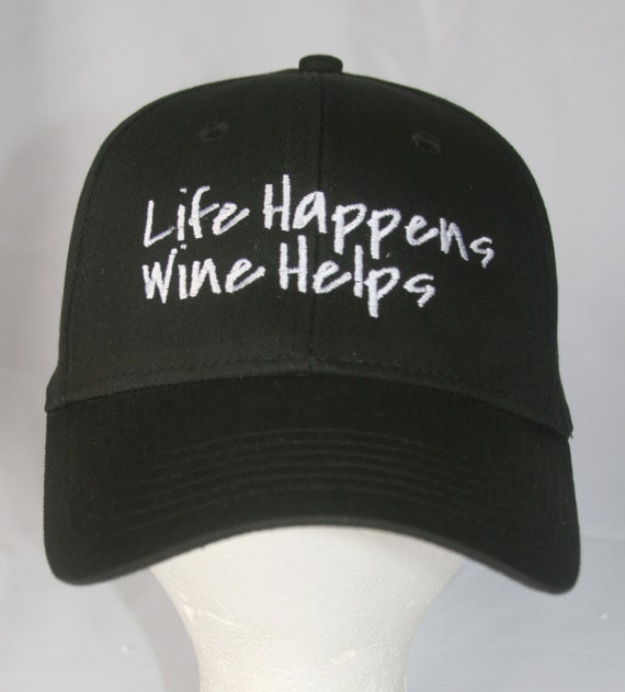 Life Happens Wine Helps - Polo Style Ball Cap (Black with White Stitching)