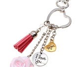 I Love You Mom Keychain Charm (KCav) Key Ring Pink Rose