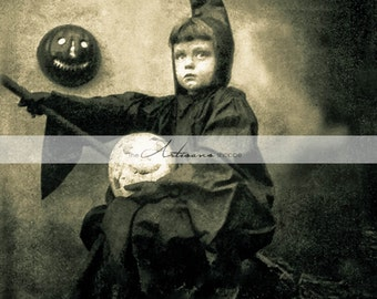 Instant Download Printable Art - Little Witch Antique Vintage Halloween Photograph - Paper Crafts Altered Art - Child Pumpkin Moon Witch