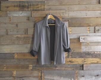 Vintage Zip Jacket By Rafaella Size 10 Black and White Checks Made in Hong Kong Free US Standard Shipping