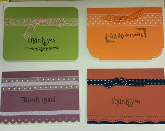 Set of four Thank You Cards w/matching envelopes