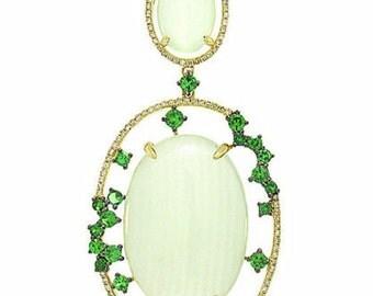 ON SALE! 40% Off! 14K Yellow Gold Green Melon Cabochon Carbonate Garnet Diamond Pendant Necklace