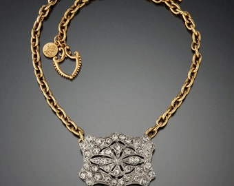 Vintage Crystal Buckle Necklace