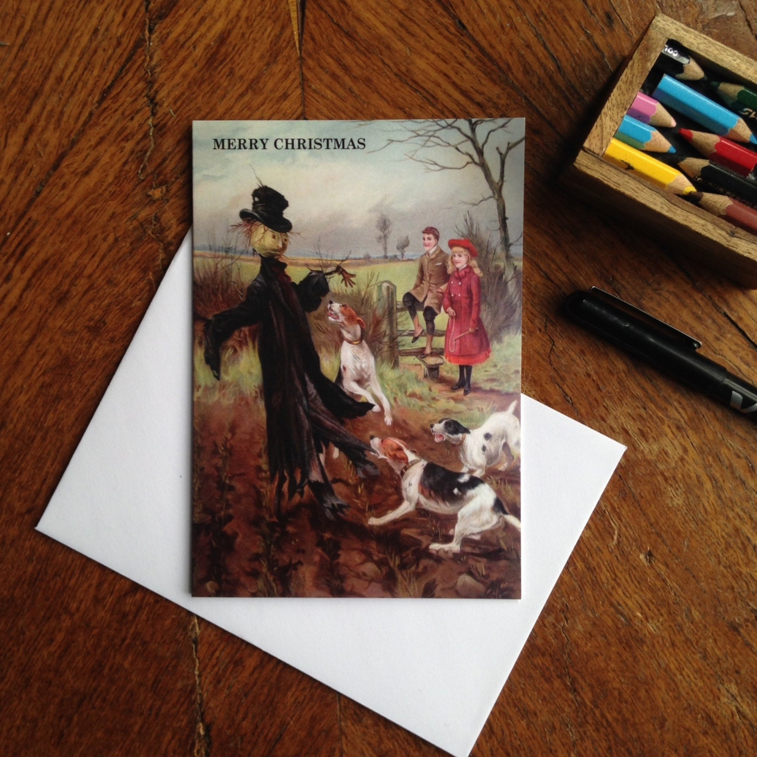 Alternative Christmas Card Showing Vintage Dog Attack On Scarecrow