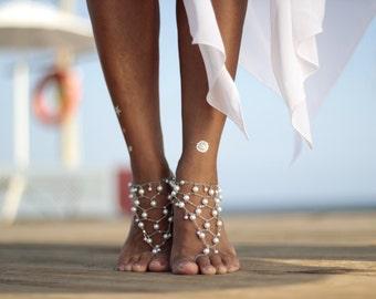 Pearl's web  beach wedding barefoot sandals, bangle,cuff, wedding anklet,barefoot sandal,ankle cuff,boho sandal