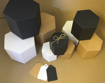 Small hexagonal candle or gift boxes in Eco Kraft lined, Black or White with tags