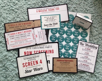 Cinema / Movie / Film / Theatre / Hollywood thtmed Wedding Stationery Sample Pack
