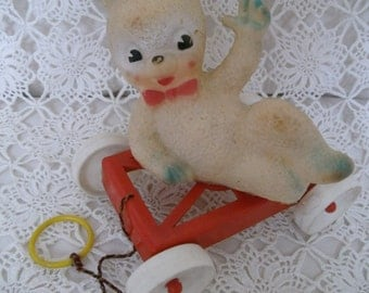 1960s Rubber Squeak Toy. Vintage Rabbit Toy On Wheels. Squeaky Bunny. Kitsch Rabbit Toy. Pull-Along Toy. Cute Bunny.