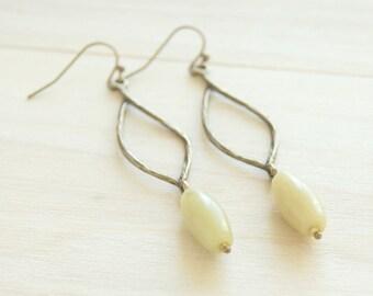 Green Gemstone Bronze Earrings - New Jade Gemstones, Dangle Earrings, Drop Earrings, Boho Earrings, Gemstone Earrings, Gift For Her, Boho