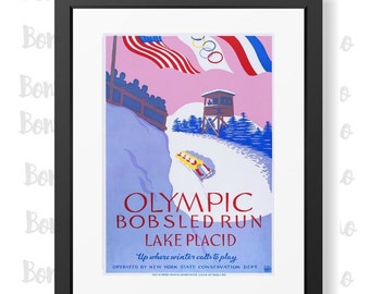 Lake Placid bobsled Poster,Olympics Poster, 1932 Winter Olympics,Retro Sports poster,Sports Club decor,Teen Boys Bedroom,Man Cave Decor