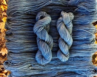 Natural Indigo Hand Vat-dyed Romney yarn, DK weight