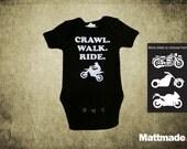 Motorcycle Baby Jumper/ Biker Baby Shirt Top - Crawl Walk Ride Custom Jumper