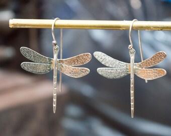 Dragonfly Earrings, Sterling Silver Dragonfly Earrings, Dragonfly jewelry, Sterling silver dangle earrings, Gift for her , Artisan earrings