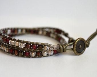 Beaded Wrap Bracelet, Wrap Bracelet,  Boho Wrap Bracelet, Leather Wrap Bracelet, Handmade Wrap Bracelet, Boho Chic Wrap Bracelet,