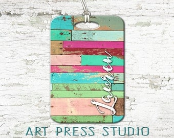 Reclaimed Wood Luggage Tag, Personalized Double Sided Luggage Tag, Rustic Wood Shabby Chic Tag, Custom Luggage Tag, Turquoise and Pink Tag