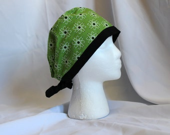 Black and Lime Atoms Surgical Scrub Cap Chemo Dental Hat