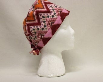 Pink Southwest Chevron FLANNEL Surgical Scrub Cap Chemo Hat