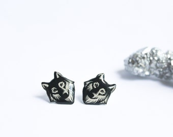 Wolf earrings / Tribal wolf studs / Wolf jewelry / Black and white wolf studs / Animal  studs  / Wolf lover gift